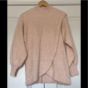 ASOS maternity fuzzy wrap sweater mock neck
